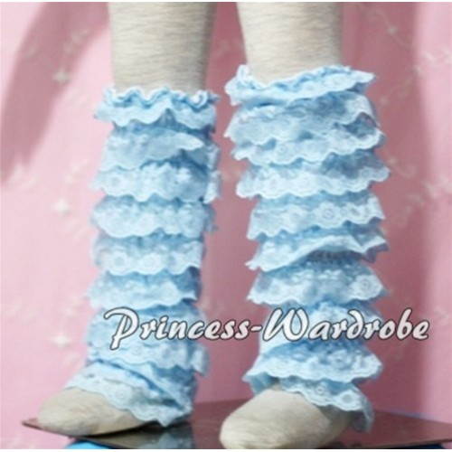 Baby Light Blue Lace Leg Warmers Leggings LG85