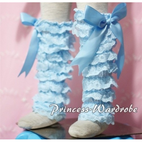 Baby Light Blue Lace Leg Warmers Leggings with Light Blue Ribbon LG86