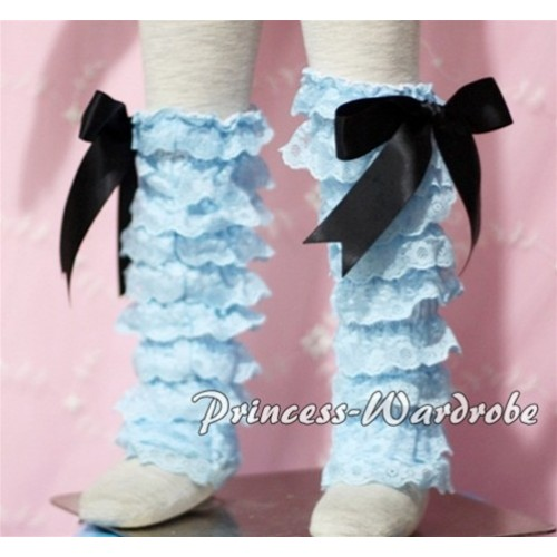 Baby Light Blue Lace Leg Warmers Leggings with Black Ribbon LG89