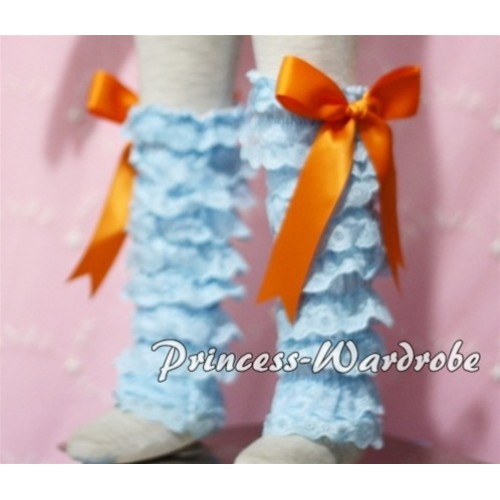 Baby Light Blue Lace Leg Warmers Leggings with Orange Ribbon LG93