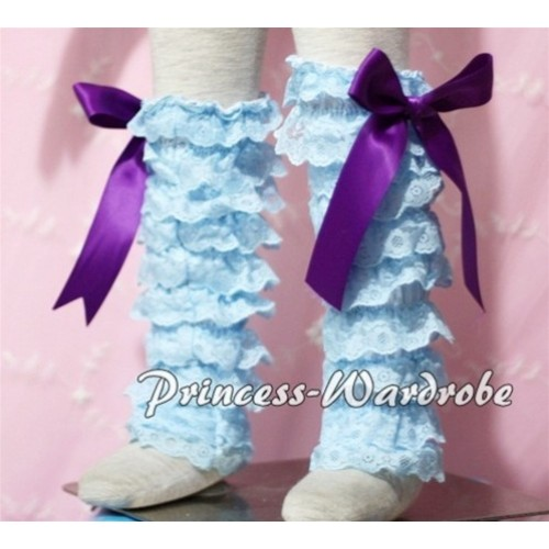 Baby Light Blue Lace Leg Warmers Leggings with Dark Purple Ribbon LG94