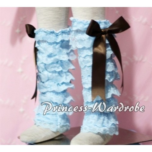 Baby Light Blue Lace Leg Warmers Leggings with Brown Ribbon LG95
