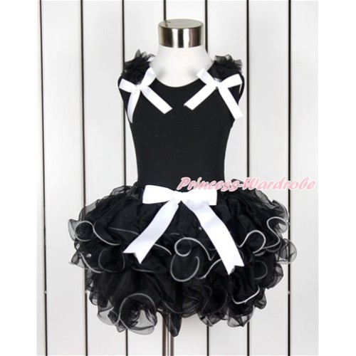 Black Baby Pettitop with Black Ruffles & White Bow with White Bow Black Petal Newborn Pettiskirt NG1376