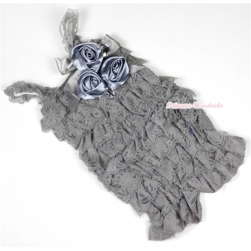 Silver Grey Lace Ruffles Petti Rompers With Straps With Big Bow & Bunch Of Satin Rosettes& Crystal LR138