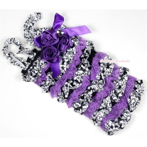 Dark Purple Damask Lace Ruffles Petti Rompers With Straps With Big Bow & Bunch Of Dark Purple Satin Rosettes& Crystal LR139