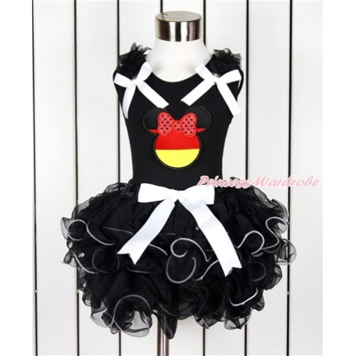 World Cup Black Baby Pettitop with Black Ruffles & White Bow & Sparkle Red Germany Minnie Print with White Bow Black Petal Baby Pettiskirt NG1381