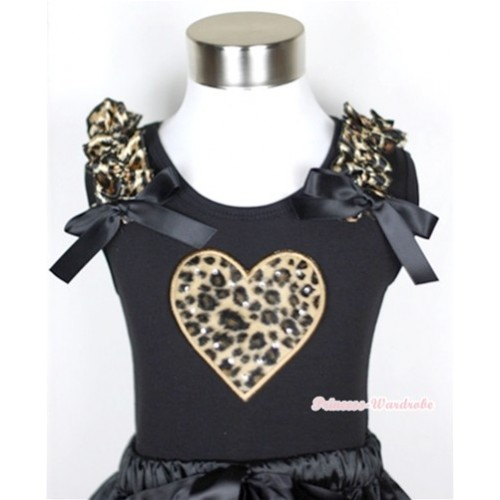 Black Tank Top With Leopard Heart Print with Leopard Ruffles & Black Bow TB271