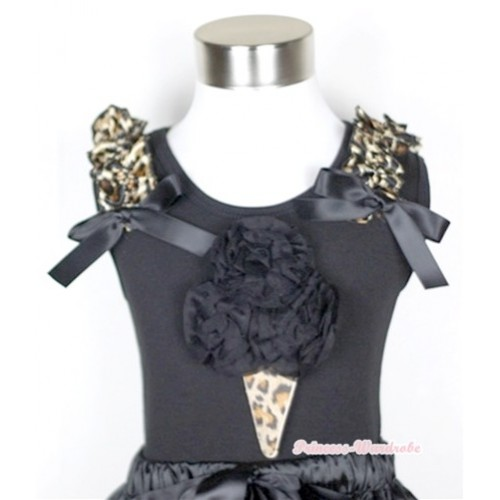 Black Tank Top With Black Rosettes Leopard Ice Cream Print with Leopard Ruffles & Black Bow TB275