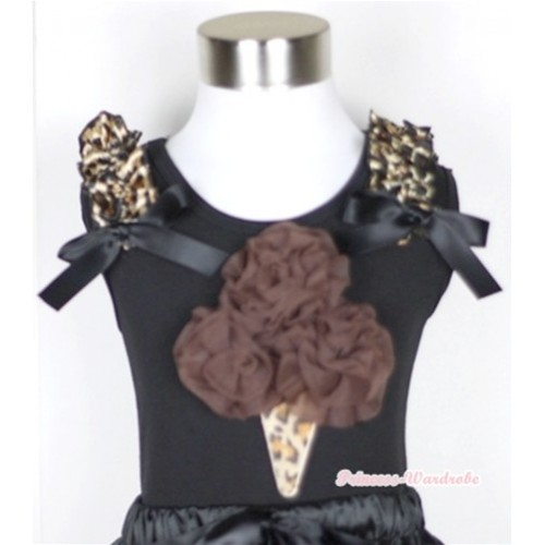 Black Tank Top With Brown Rosettes Leopard Ice Cream Print with Leopard Ruffles & Black Bow TB276