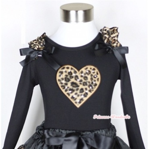 Black Long Sleeves Top with Leopard Heart Print With Leopard Ruffles & Black Bow TB38