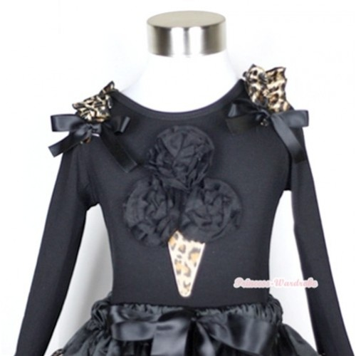 Black Long Sleeves Top with Black Rosettes Leopard Ice Cream Print With Leopard Ruffles & Black Bow TB97