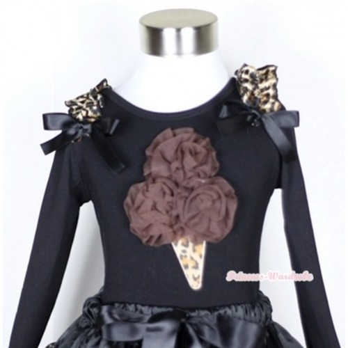 Black Long Sleeves Top with Brown Rosettes Leopard Ice Cream Print With Leopard Ruffles & Black Bow TB98