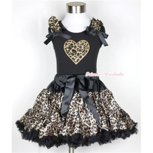 Black Tank Top with Leopard Heart Print with Leopard Ruffles & Black Bow With Black Leopard Pettiskirt MW179