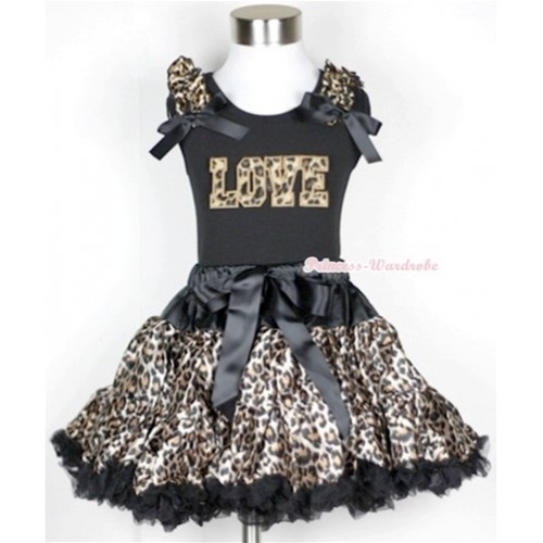 Black Tank Top with Leopard Love Print with Leopard Ruffles & Black Bow With Black Leopard Pettiskirt MW180