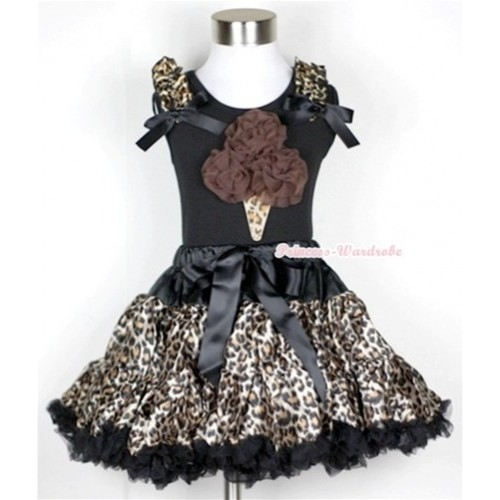 Black Tank Top with Brown Rosettes Leopard Ice Cream Print with Leopard Ruffles & Black Bow With Black Leopard Pettiskirt MW184
