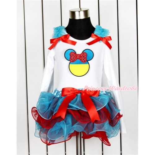 World Cup White Baby Long Sleeves Top with Peacock Blue Ruffles & Red Bow & Sparkle Red Ukraine Minnie Print with Red Bow Peacock Blue Red Petal Baby Pettiskirt NQ06