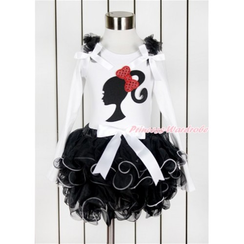 White Baby Long Sleeves Top with Black Ruffles & White Bow & Sparkle Red Bow Barbie Princess Print with White Bow Black Petal Baby Pettiskirt NQ25