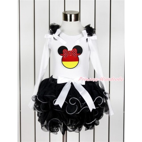 World Cup White Baby Long Sleeves Top with Black Ruffles & White Bow & Sparkle Red Germany Minnie Print with White Bow Black Petal Baby Pettiskirt NQ28