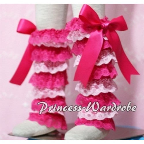 Baby Hot Light Pink Lace Leg Warmers Leggings with Hot Pink Ribbon LG107