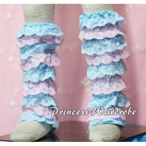 Baby Light Blue Pink Lace Leg Warmers Leggings LG109