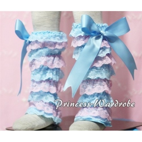 Baby Light Blue Pink Lace Leg Warmers Leggings with Light Blue Ribbon LG111