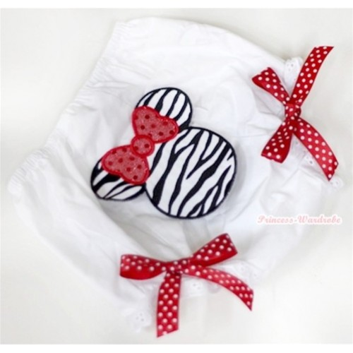 White Bloomer With Zebra Minnie Print & Red White Polka Dots Bow BL72