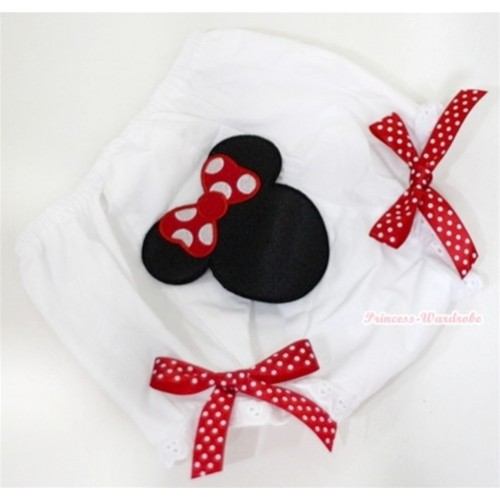 White Bloomer With Minnie Print & Red White Polka Dots Bow BL73