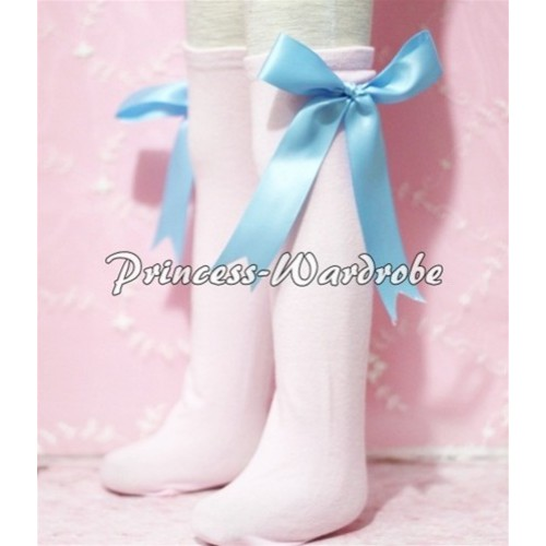 Light Pink Cotton Stocking with Light Blue Ribbon SK02
