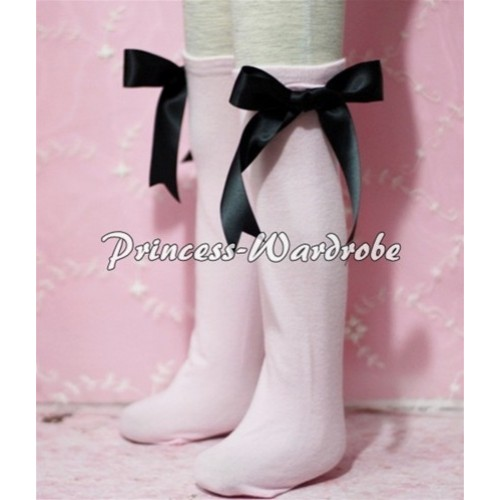 Light Pink Cotton Stocking with Black Ribbon SK04