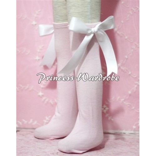 Light Pink Cotton Stocking with White Ribbon SK07