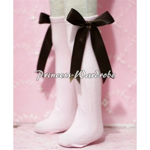 Light Pink Cotton Stocking with Brown Ribbon SK08