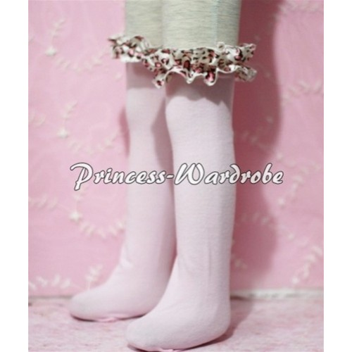Light Pink Cotton Stocking with Light Pink Leopard Ruffles SK13