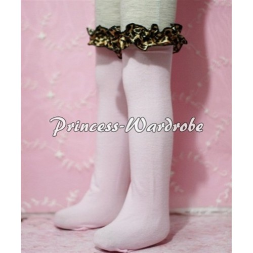 Light Pink Cotton Stocking with Leopard Ruffles SK14