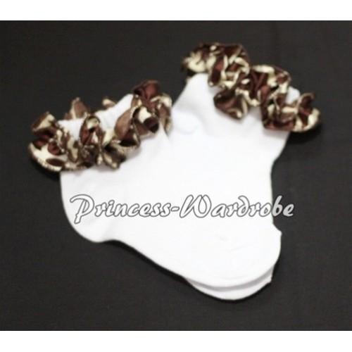 Plain Style Pure White Socks with Brown Giraffe Ruffles H208