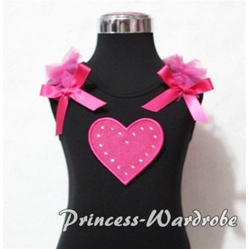 Hot Pink Sweet Heart Black Tank Top with Hot Pink Ruffles and Hot Pink Bows TM151