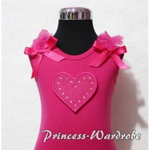 Hot Pink Sweet Heart Hot Pink Tank Top with Hot Pink Ruffles and Hot Pink Bows TM155