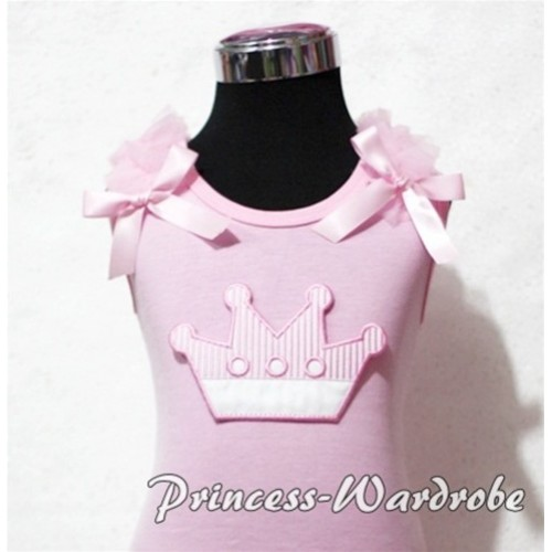 Pink Crown Light Pink Tank Top with Light Pink Ruffles and Light Pink Bows TM159