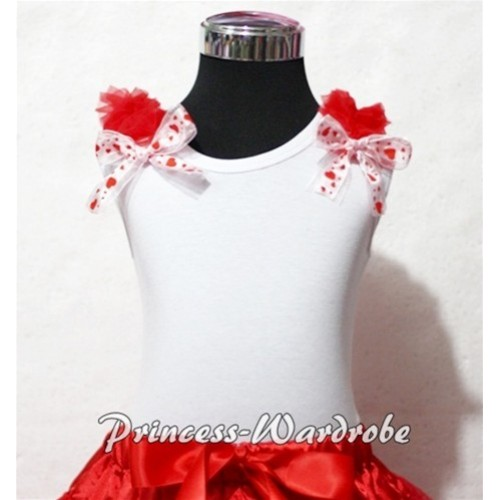 Red Ruffles Swert Heart Bow White Tank Top T321