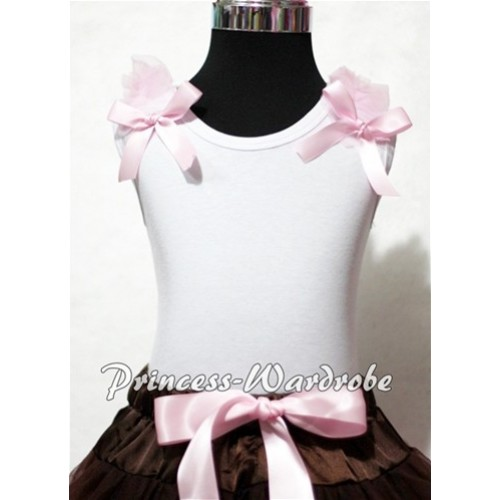Light Pink Ruffles Light Pink Bow White Tank Top T322