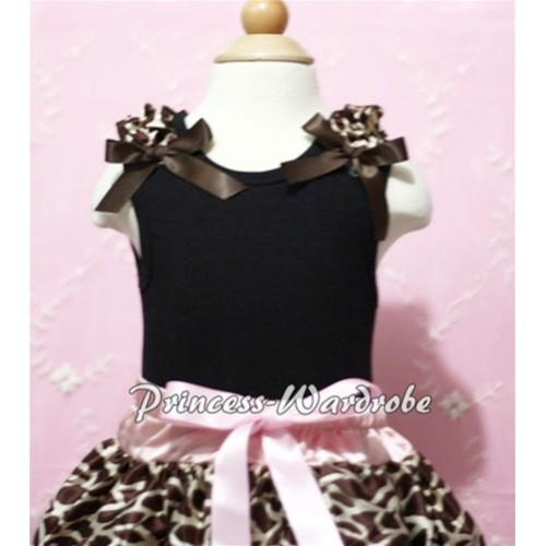 Black Baby Tank Top & Brown Giraffe Ruffles & Brown Bow NT105