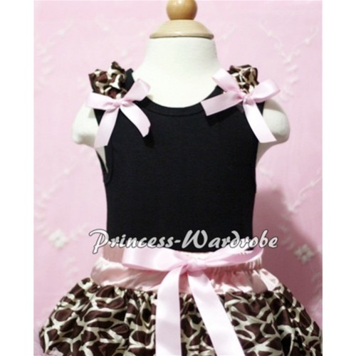 Black Baby Tank Top & Brown Giraffe Ruffles & Light Pink Bow NT106