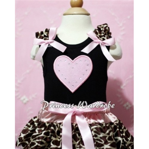 Black Baby Tank Top & Light Pink Sweet Heart & Giraffe Ruffles & Brown Bow NT107