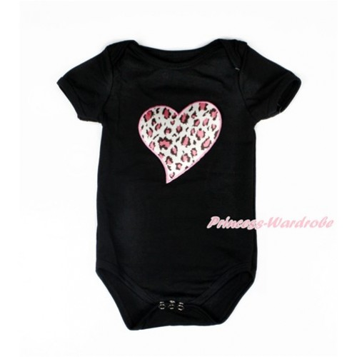 Black Baby Jumpsuit with Light Pink Leopard Heart Print TH296