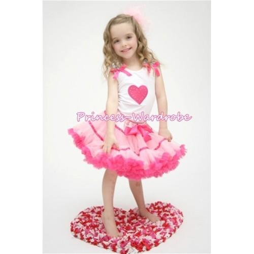 Hot Pink Sweet Heart Zebra Ruffles Hot Pink Bow White Tank Top with Hot Light Pink Trim Pettiskirt MM127