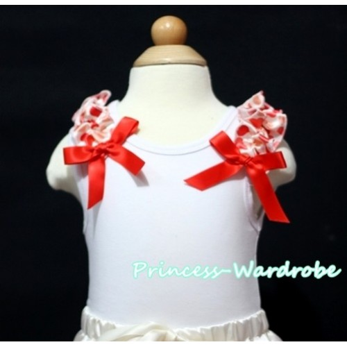 Cream White Heart Ruffles Red Bow White Tank Top T326