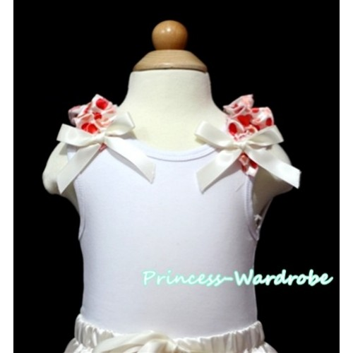 Cream White Heart Ruffles Cream White Bow White Tank Top T327