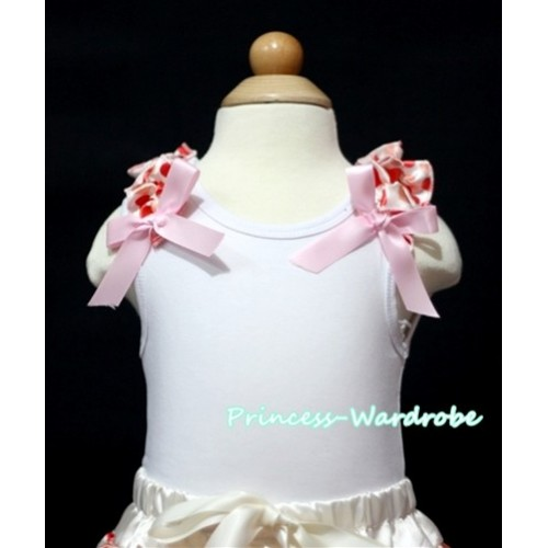 Cream White Heart Ruffles Light Pink Bow White Tank Top T328