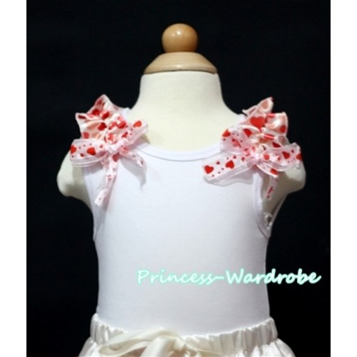 Cream White Heart Ruffles Sweet Heart Bow White Tank Top
