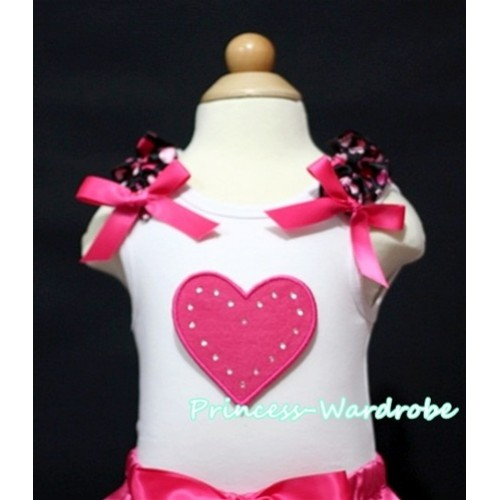 Hot Pink Sweet Heart White Tank Top with Hot Pink Heart Ruffles and Hot Pink Bow TM169
