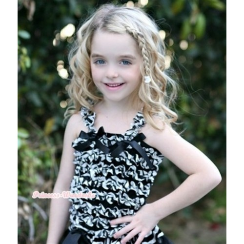Black Zebra Ruffles Tank Top with Black Bow Ribbon NR28